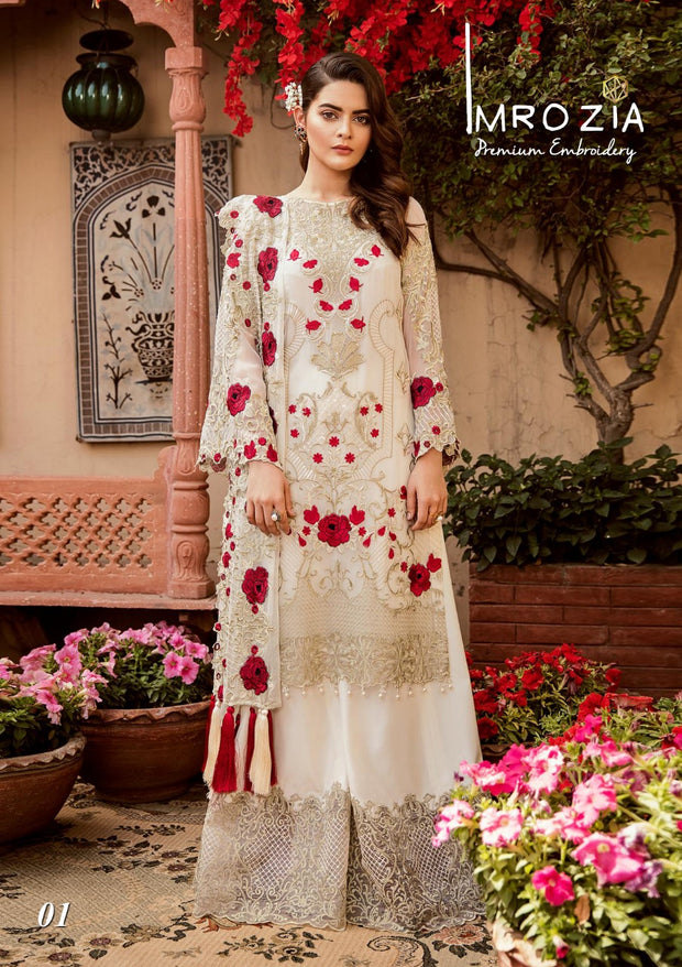 Floral Off White Dress by Imrozia.Work Embalished With Pure Dhaga And Tilla Embroidery.