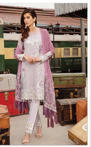 Punjabi Chiffon Suit In Light Gray Laylac Color.Work Embellished With Silver Tilla Threds Work And Sequance.