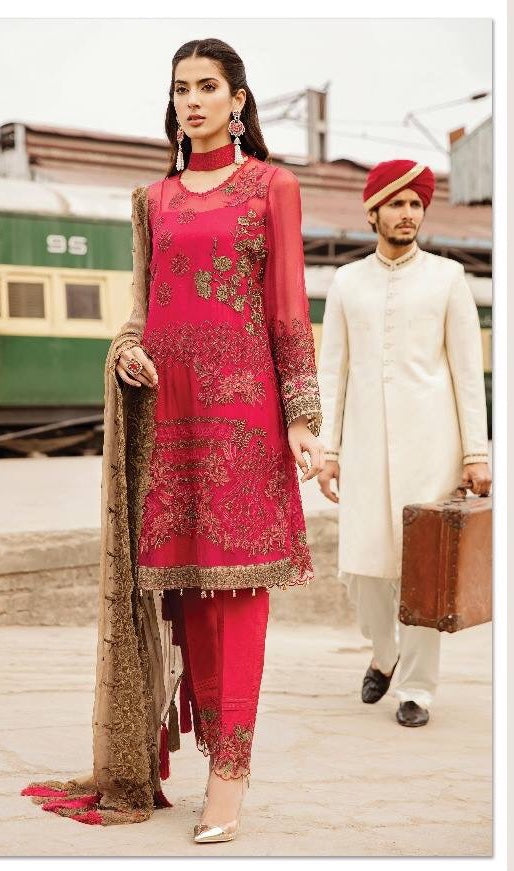 Indian Salwar Suit Shokin Pink Color.Work Embellished With Tilla Threads Embroidery And Sequance.