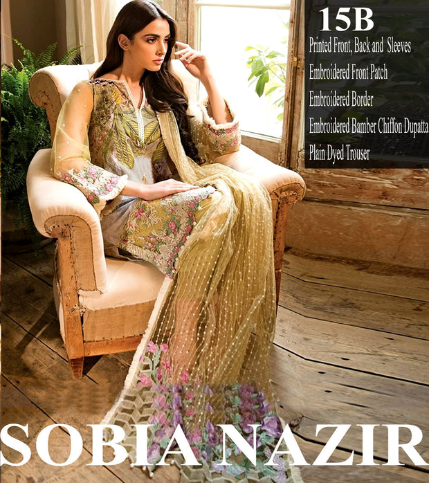 Beutifull lawn dress by sobia nazir in yellowish green color Model # L 1207