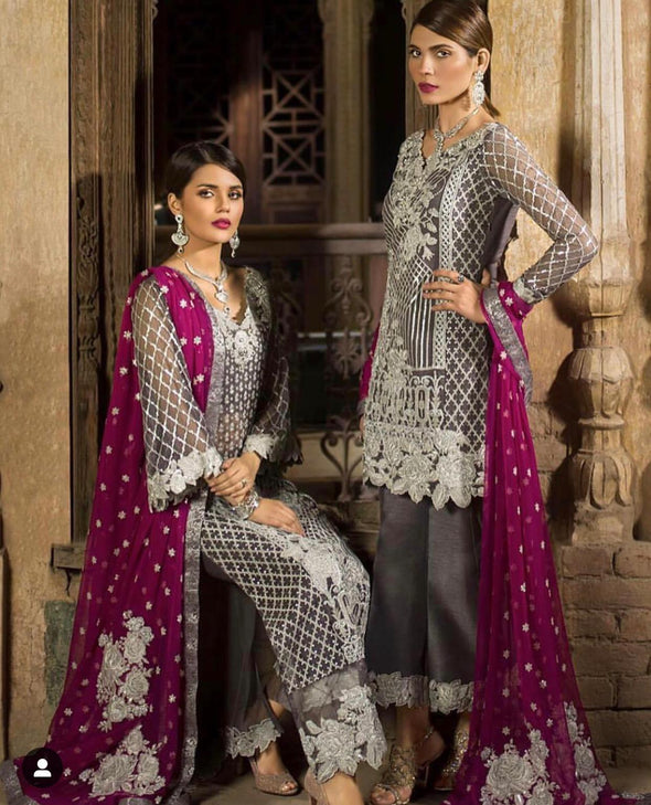 Stylish Desi Dress In Gray And Shoking Pink Color.Work Embellished With Sequance Silver Tilla Embroidery And Patches Work.
