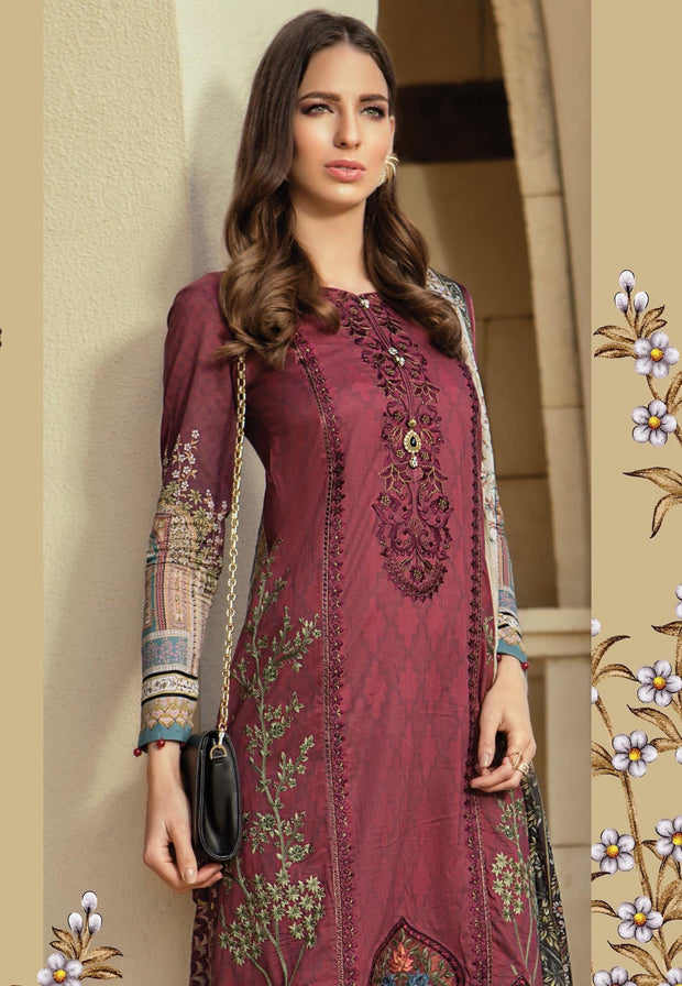 Stylish Punjabi Suit In Dark Maroon Color.Work Embellished With Threads Embroidery And Cutwork Patches On Daman.
