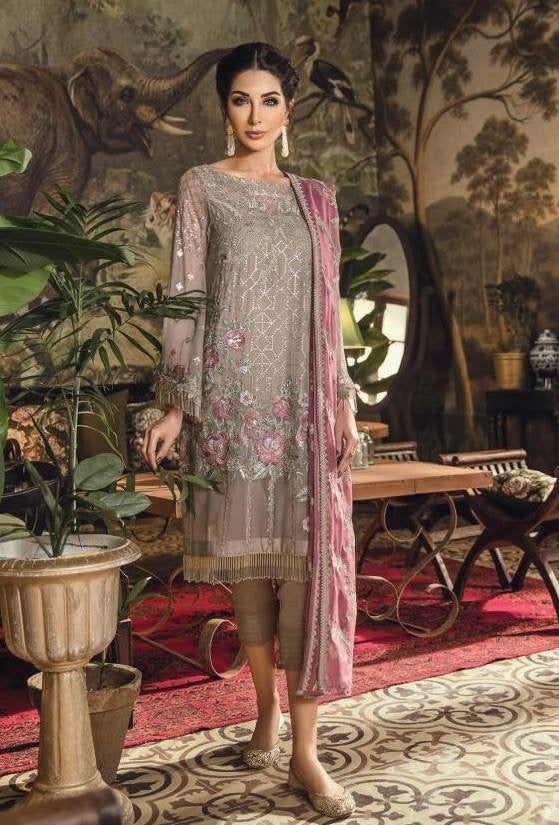 Iznik Designer Dress In Chiffon Fabric.Work Embellished With Threads Embroidery And Sequance Work.