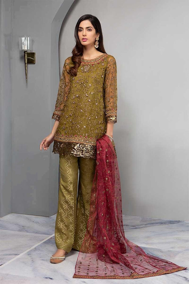 Eid Stylish Outfit In Mehndi Green And Maroon Color.Work Embalished With Tilla,Sequance & Sone Work.