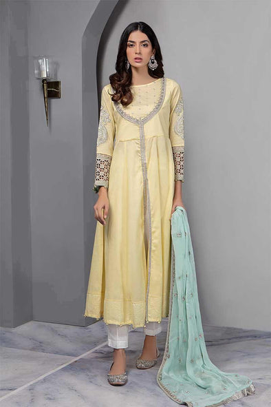 Stylish Yellow Dress By Maria B in Beutifull Anarkale Frock Style.Work Emballished With Pure Tilla Zari And Threads Work.