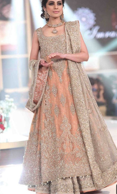 Asian Bridal Lahnga In Beutifull Peach Color.Work Embellished With Pure Dull Gold Silver Dabka Nagh Pearls,Zari, Moti And Load Work Dabka.
