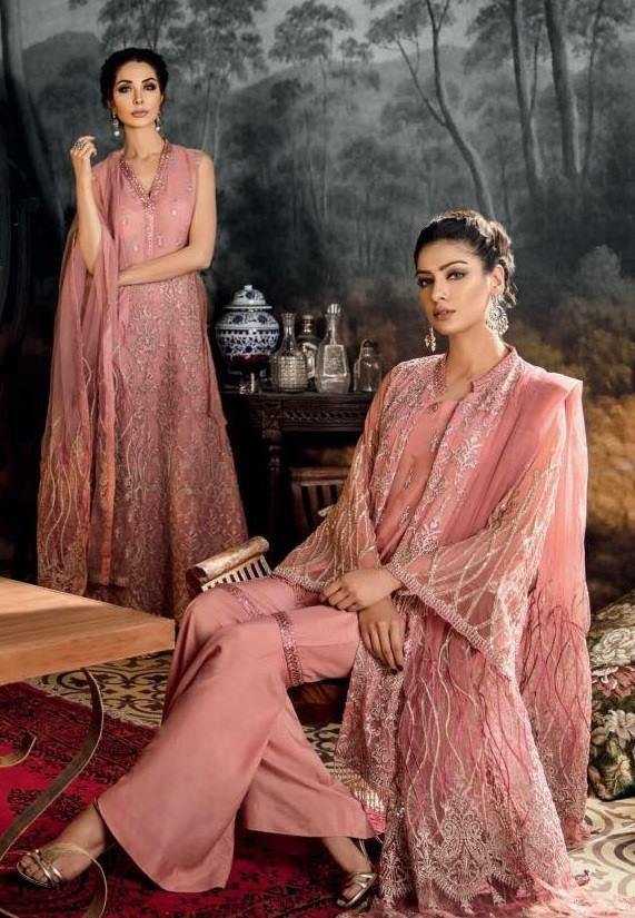 Open Gown Stylish Dress In Tea Pink Color By Iznik Tilla Threads Embroidery,Sequance And Cutwork Patches.