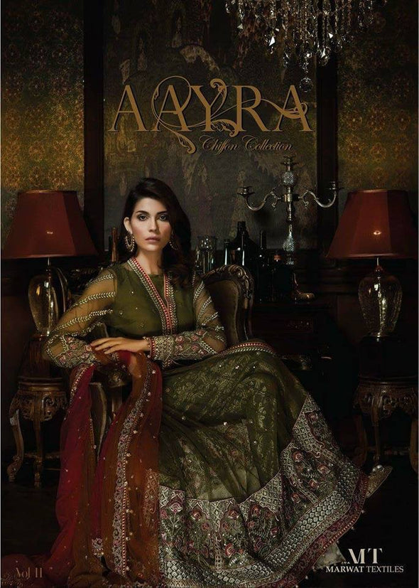Beutifull dress in chiffon by ayra in mehndi green and color Model # C 1134