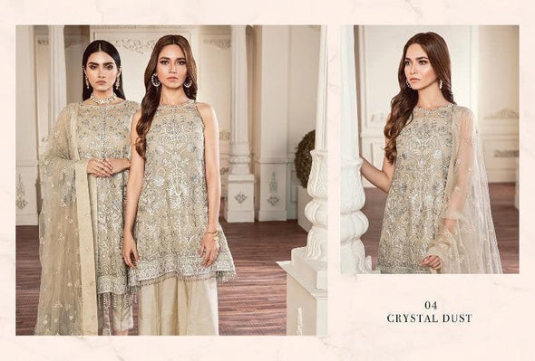 Paplam Stylish Dress By Jasmin In Beautiful Skin Gold Color.Work Embellished With Tilla Threads Embroidery And Sequance.