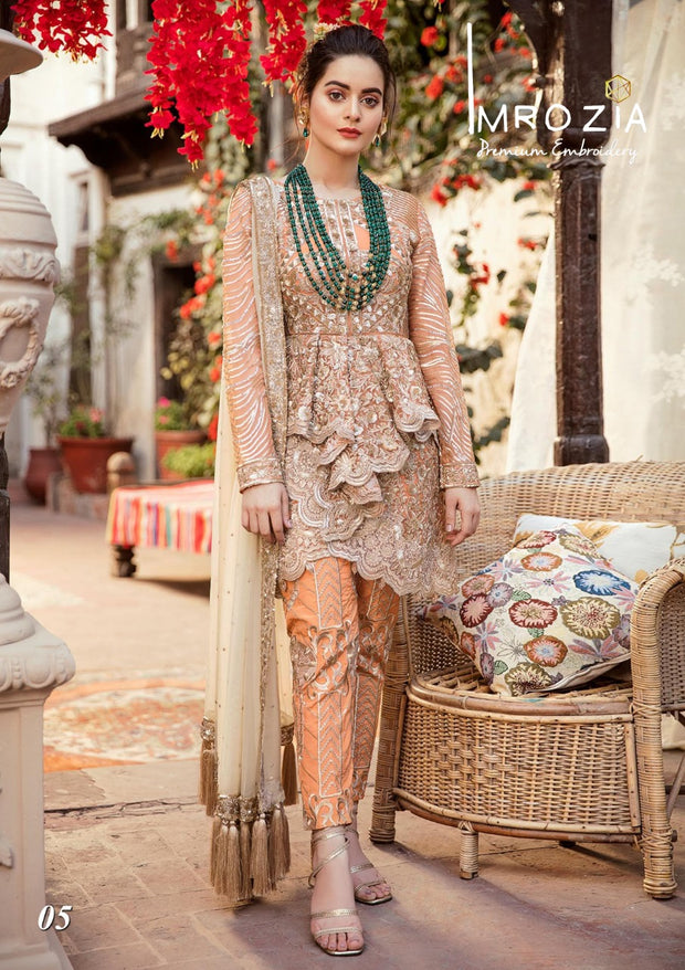 Stylish Designer Dress by Imrozia.Work Embalished With Tilla Threads Embroidery Sequance And Patches Work.