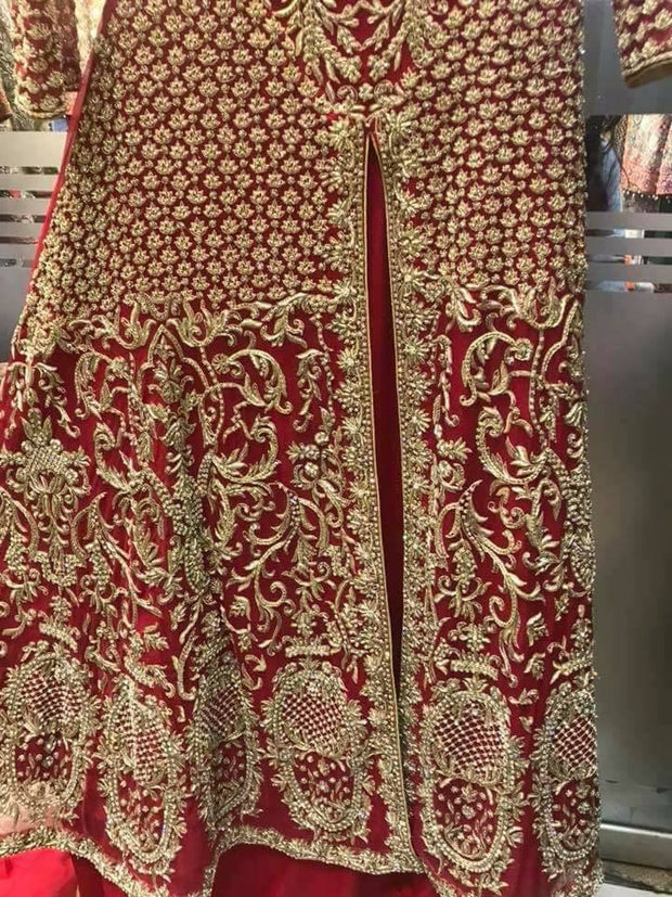 Beautiful bridal lahnga maxi in deep red color