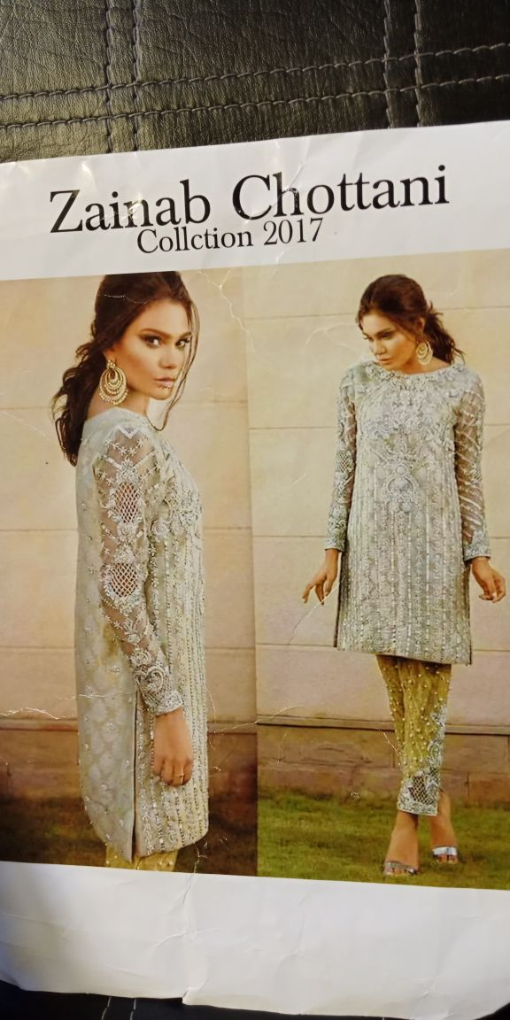 Beutifull chiffon dress in gray silver and mehndi  color with hand work      by zainab chotani Model  # C 1123