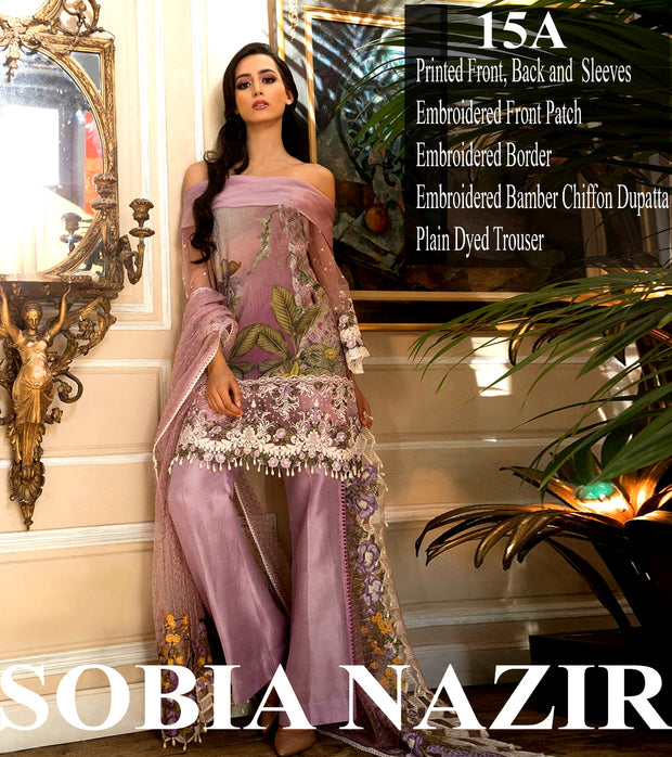 Beutifull lawn dress in laylac color by sobia nazir Model # L 1206