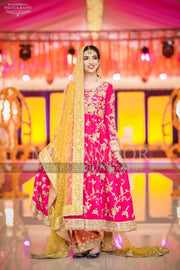 Mehndi Dress Pakistani in Beautiful Shokin Pink,Orange & Yellow Color.  Embellished With Gota, Kinari And Dabka Work.