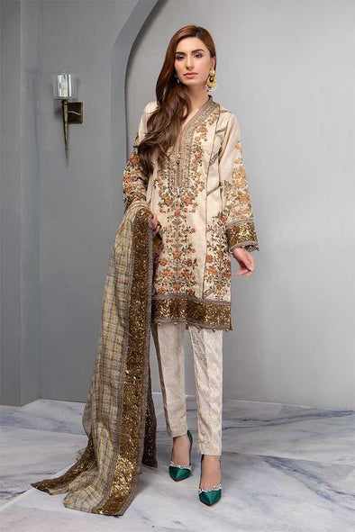 Stylish Multi Embroidery Dress in Offwhite Color.Work  Embalished With Pure Multi Dhaga Sequance And Tilla Work.