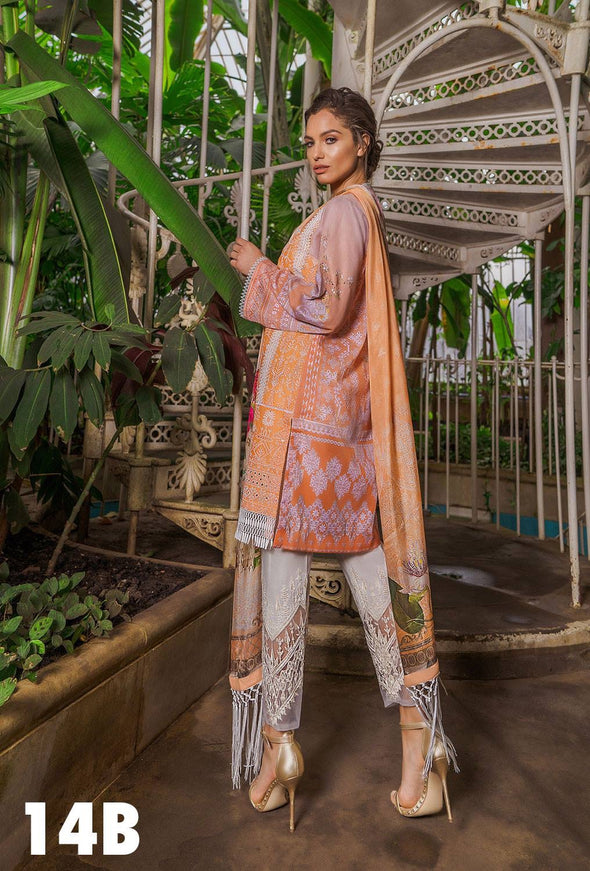 Chicken Kari Lawn Dress By Sobia Nazir In Beutifull Peach Color.Work Embellished With Threads Embroidery.Cutwork Patches And Three D Prints.