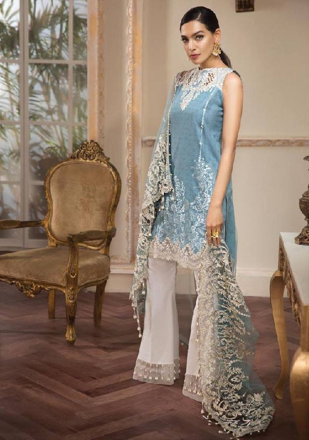 Pakistani Designer Wear By Anaya In Beutifull Light Sky Blue Color.Work Embellished With Pure Dhaga Embroidery And Cutwork Patches.