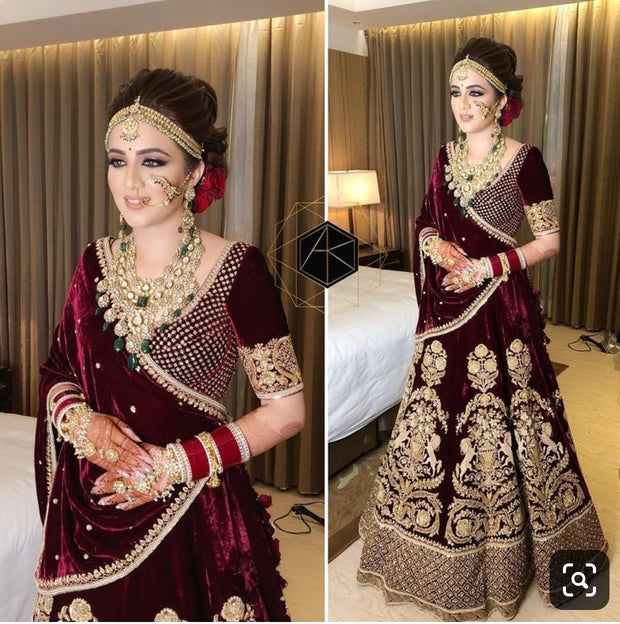 Indian Classy Bridal Dress In Deep Maroon Color.Stylish Deep Maroon Bridal Dress Embalished With Zardozi,Dabka,Nagh,Tilla,And Sequance Work.