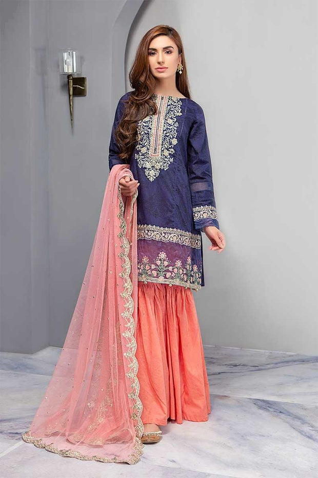 Festive Gharara Suit In Dark Blue Color.Work Embellished With Threads Embroidery And Cutwork Patches.