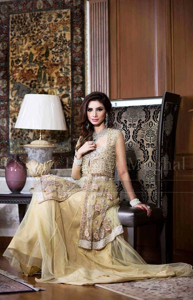 Wedding party dress with dabka threds and perls crystal work Model# P 1001