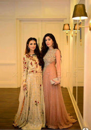 Pakistani Fashion Party Wear Maxi Style In Pastel Pink Color.Work Embellished With Pure Dabka Nagh And Sequance Work.