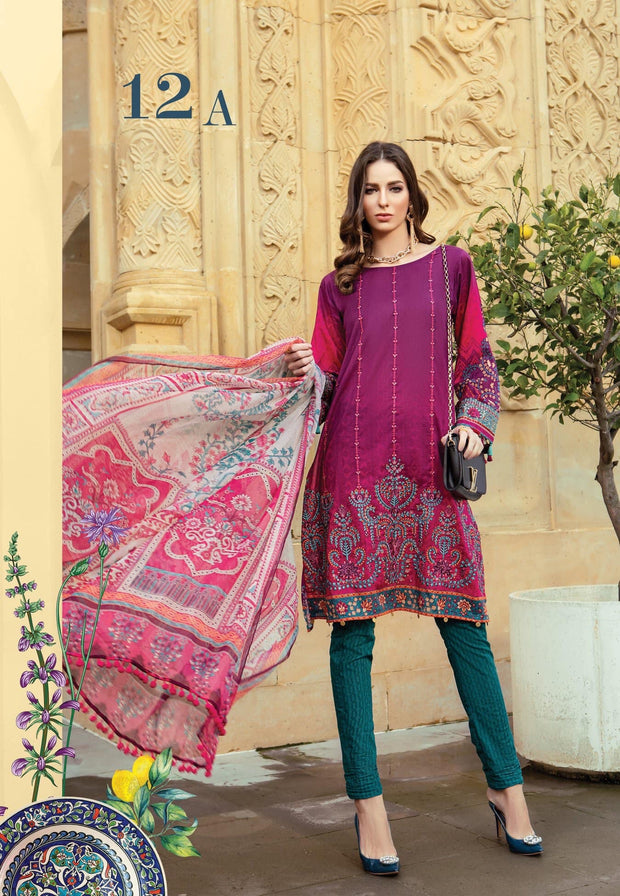 Stylish Kurta Shirt Cigrate Pants By Maria B In Beutifull Shoking Pink Color.Work Embellished With Dhaga Embroidery.