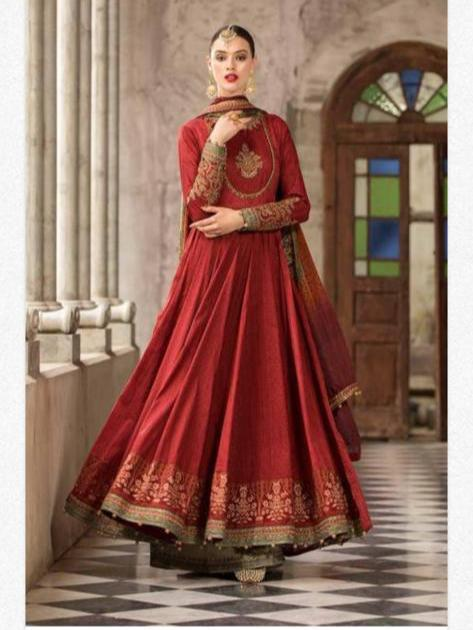Stylish Anarkali Frock In RED Color Model# 1930