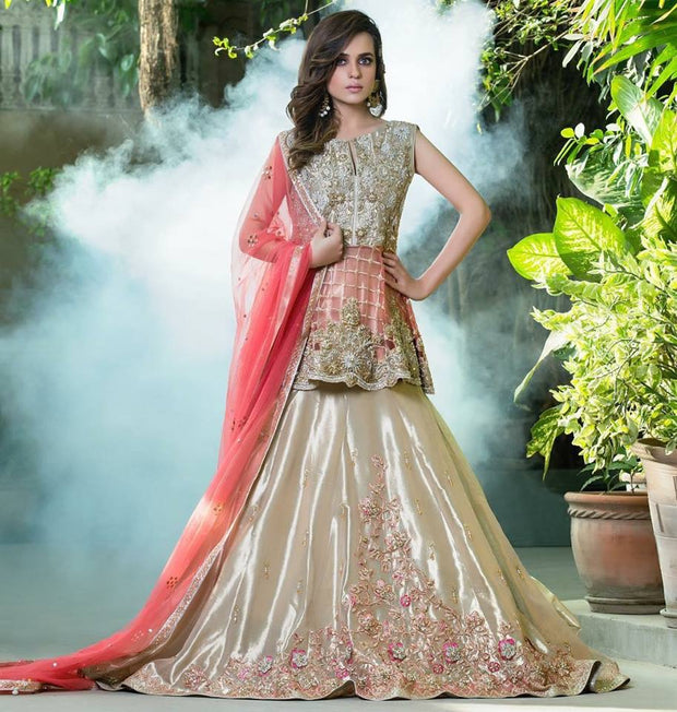 Beautiful bridal lahnga in light pink and silver gold color