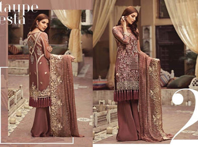 Stylish Pakistani Dress in Tea Pinck Color by Serene with Beautiful Multi Dhaga Embroidery And Tilla Embroidery.