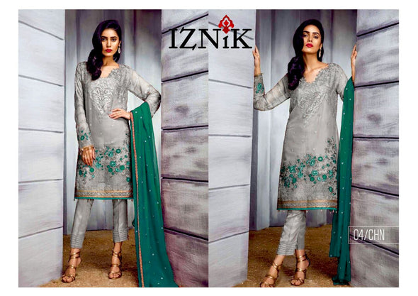 Beutifull chiffon dress by iznik in gray and aqua green color Model # C 1201