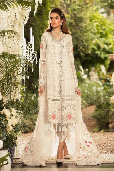 Pearl White Floral Dress By Maria B.Work Embellished With Pure Dhaga,Sequance,And,Cutwork Patches.