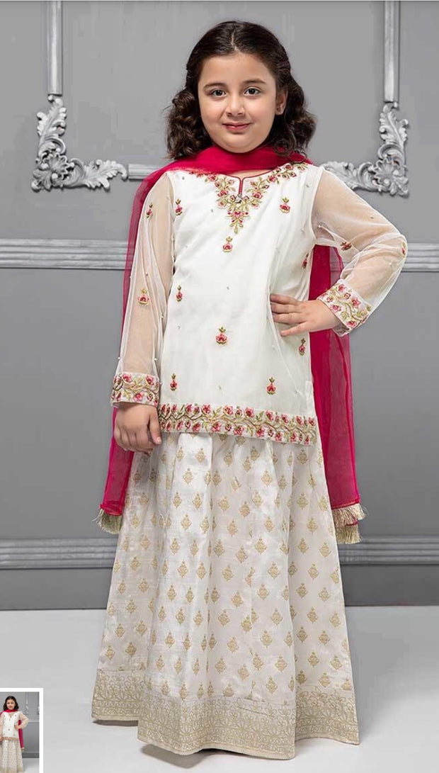 Stylish Kids Lahnga In Off White And Shoking Pink Color.Work Embalished With Multi Threads Embroidery On Shirt Daman,Neckline,And,Sleeves.