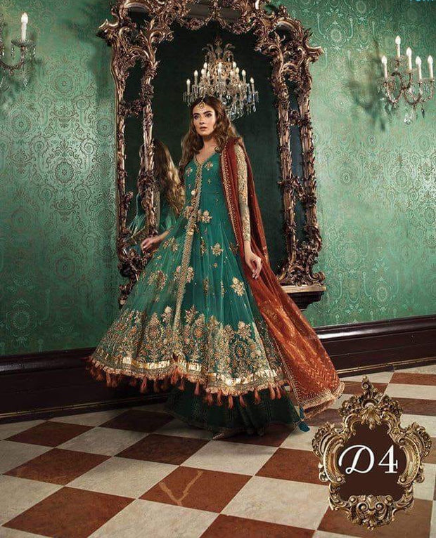 Anarkali Long Frock in Bottle Green And Rust Color With Tilla,Threads Embroidery,Handwork And Sequance Work.