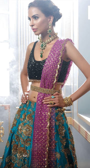 Mehndi Ghagra Choli In Beutifull Turquoise And Perple Color.Work Embaleshed With Sitara,Dabka,And Zari Work.