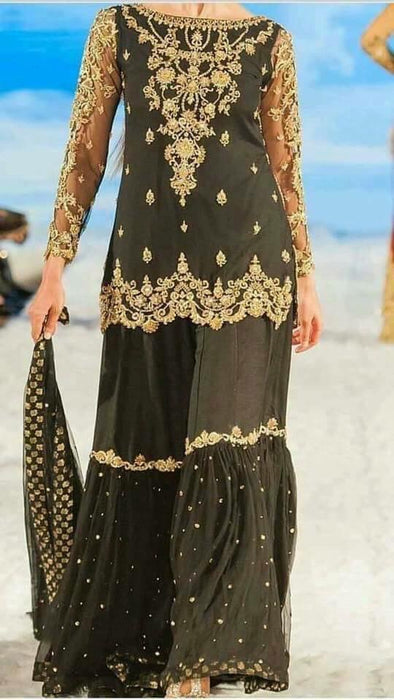 Beutifull wedding party gharara set in black golden color Model # P 914
