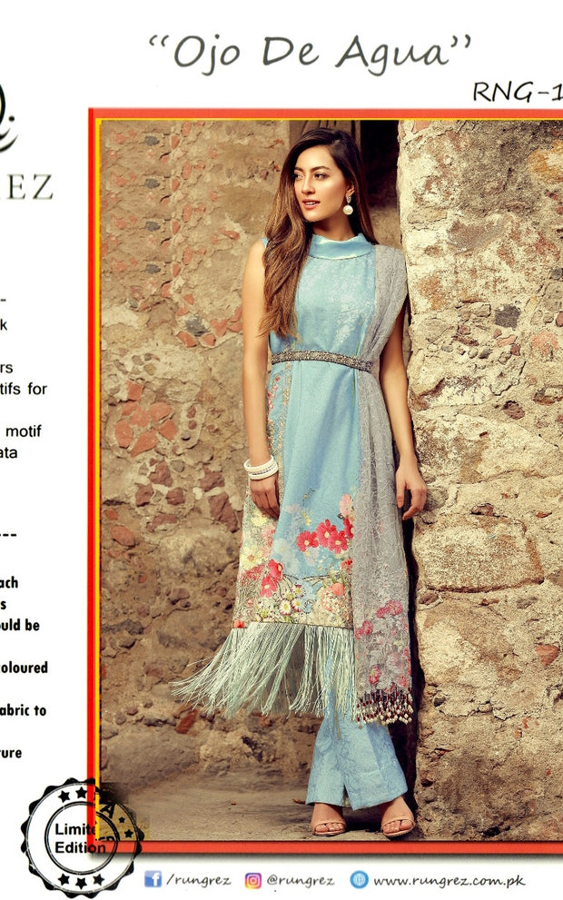 Beutifull lawn dress by rangraze in light sky blue color Model# L 1191