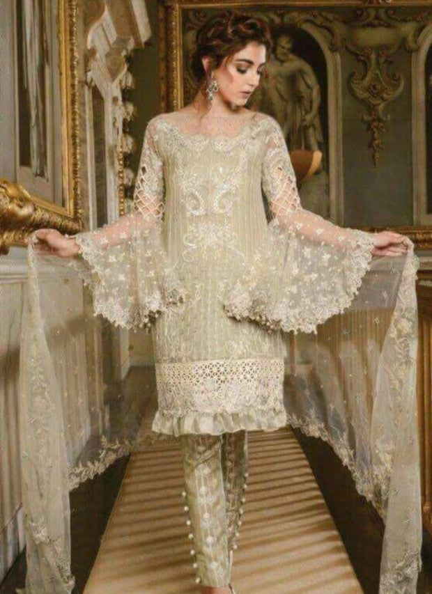 Pakistani Designer Dress Chiffon by Maria B With Threads Embroidery Sequence  Cut Work patches   Model # C1121