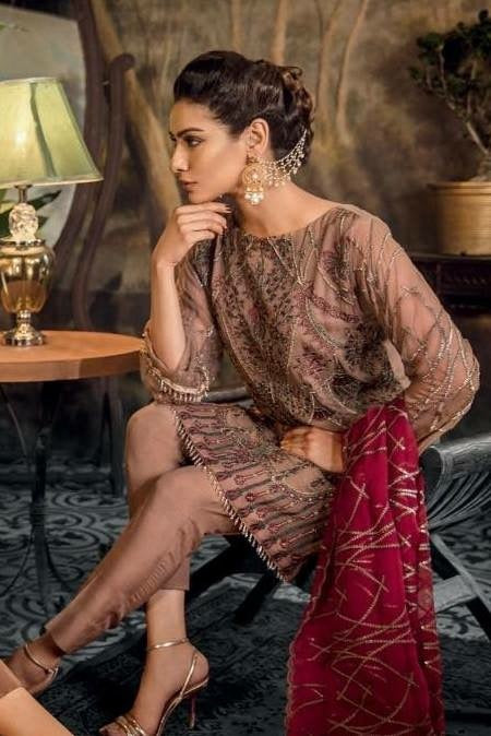 Stylish Asian Dress By Iznik In Chiffon Fabric Work Embalished With Tilla Threads And Sequence.