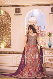 Beutifull bridal lahnga in red and majenda color Model # B 910
