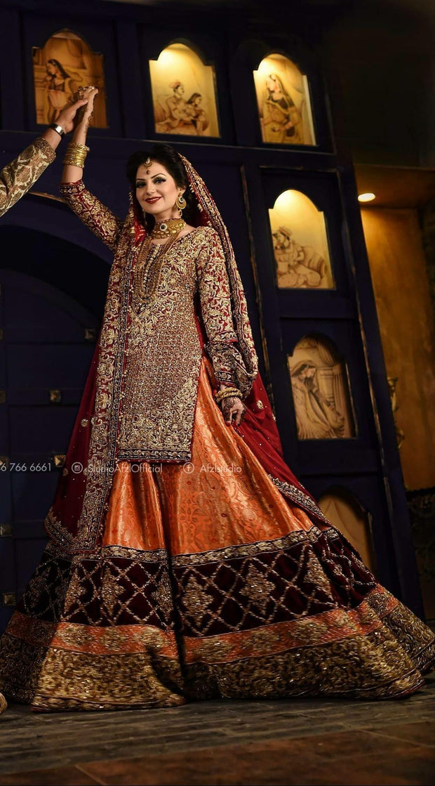 Beutifull bridal lahnga in orange and red color Model # B 908