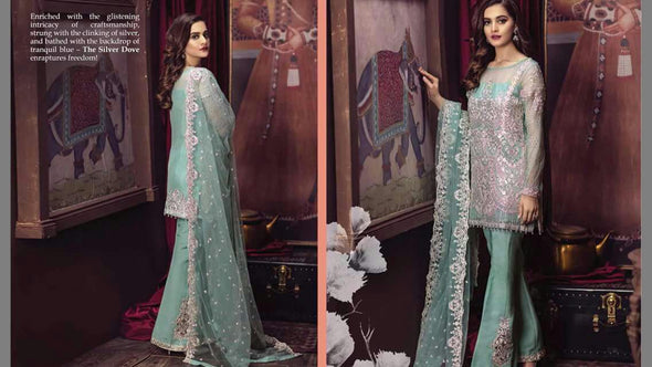 Beutifull chiffon dress by imrozia in turquoise color Model  # C 1204