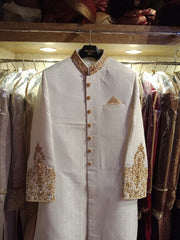 Men Sherwani,Turban And Khusa In Beautiful Offwhite Color.Work Embellished With Pure Zardozi Dabka And Nagh Work.