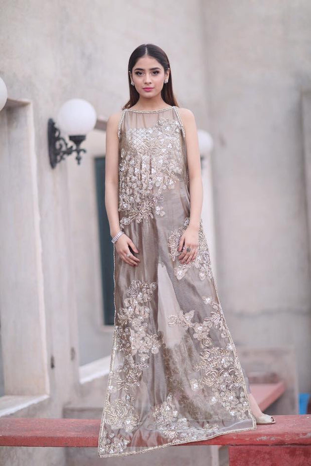 Beutifull bridal maxi in light gray gold color Model# W 1178