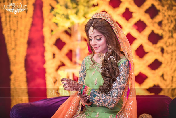Pakistani Mehndi Gharara In Perot Green Color Model# M 1811
