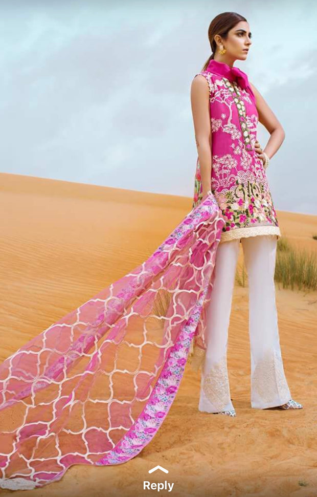 Beutifull lawn dress by crimson in shokin pink color Model # L 1204