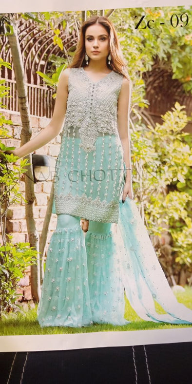 Beutifull chiffon dress by zainab chotani in ferozee turquoise color with hand made work Model # C  1124
