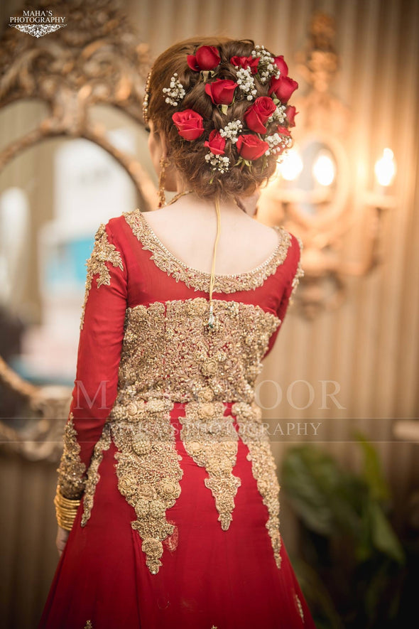 Red Dulhan Maxi in Lahnga Shape.Stylish Bridal Lahnga Maxi Embalished With Pure Dabka Nagh Zari And Pearls Work.