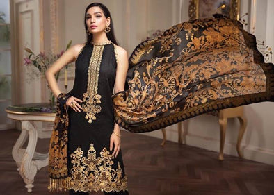 Anaya Lawn Dress In Black Color. Work Embellished With Dhaga Embroidery And Heavy Cutwork Borders.