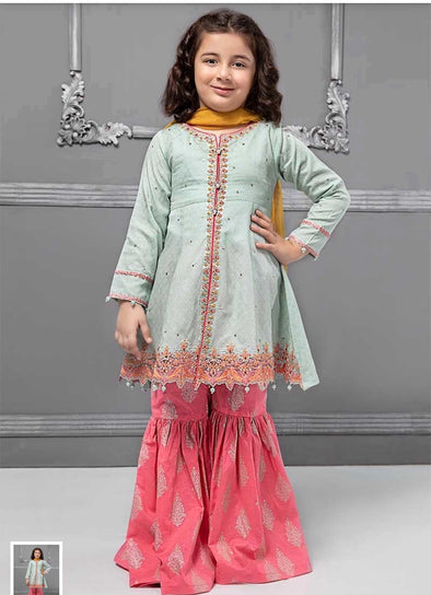Stylish Kids Dress In Light Green And Pink Color.Work Embalished With Dhaga Embroidery On Shirt Daman And Sleeves.