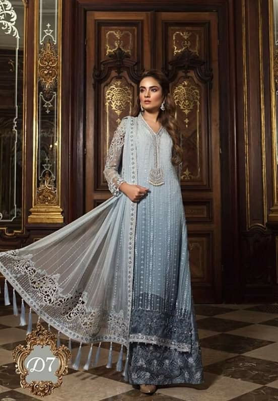 Wedding Long Shirt And Sharara in Light And Dark Gray Color By Maria.B With Sequance,Handwork And Tilla Threads Embroidery.